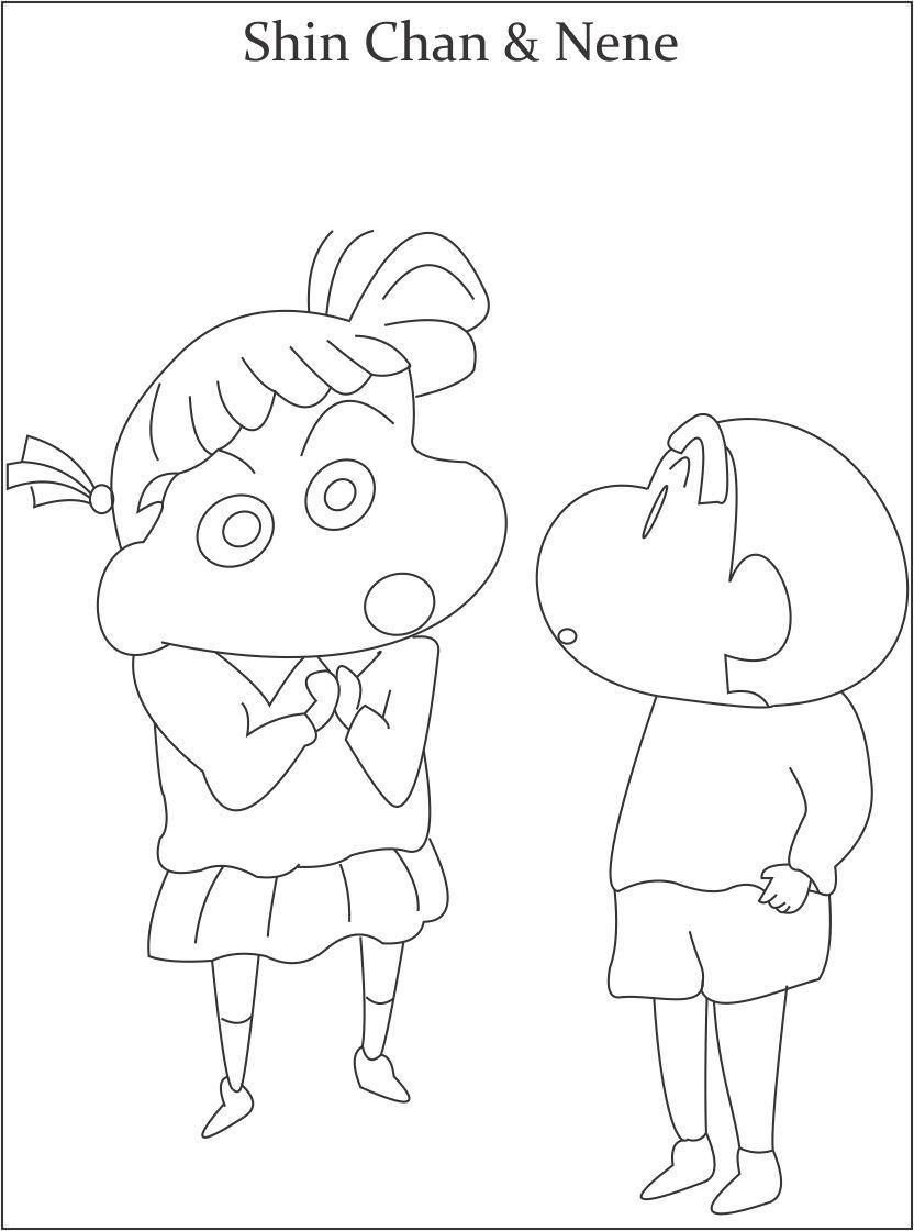 Tranh tô màu Shin cậu bé bút chì và cô bé Nene