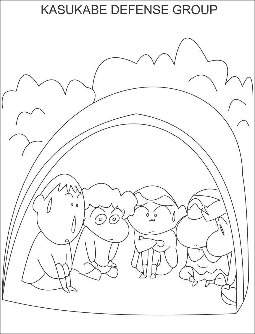 Tranh tô màu Shin cậu bé bút chì và đám bạn cùng trú trong lều