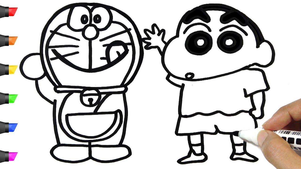Tranh tô màu Shin cậu bé bút chì và Doraemon