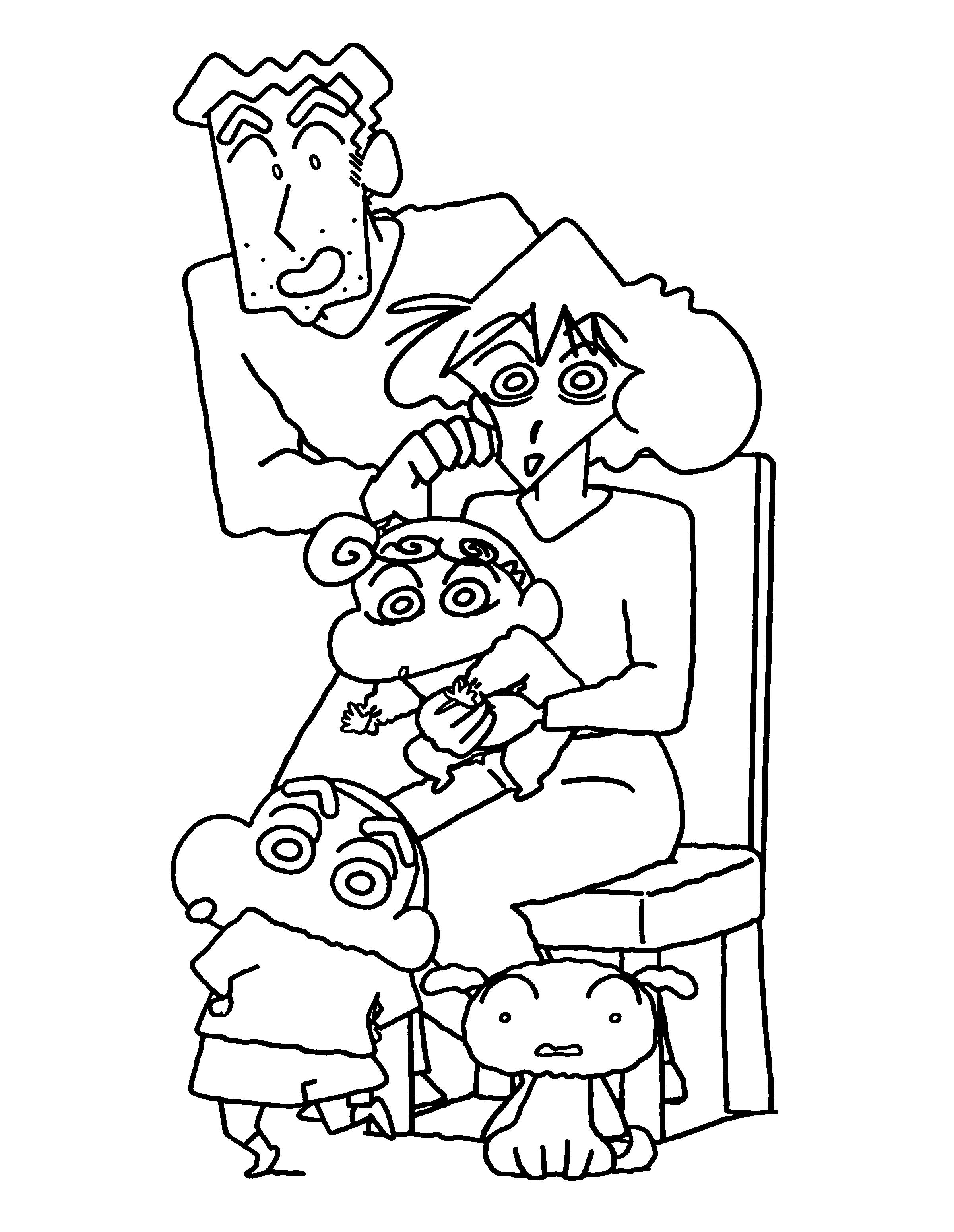 Tranh tô màu Shin cậu bé bút chì và gia đình của mình