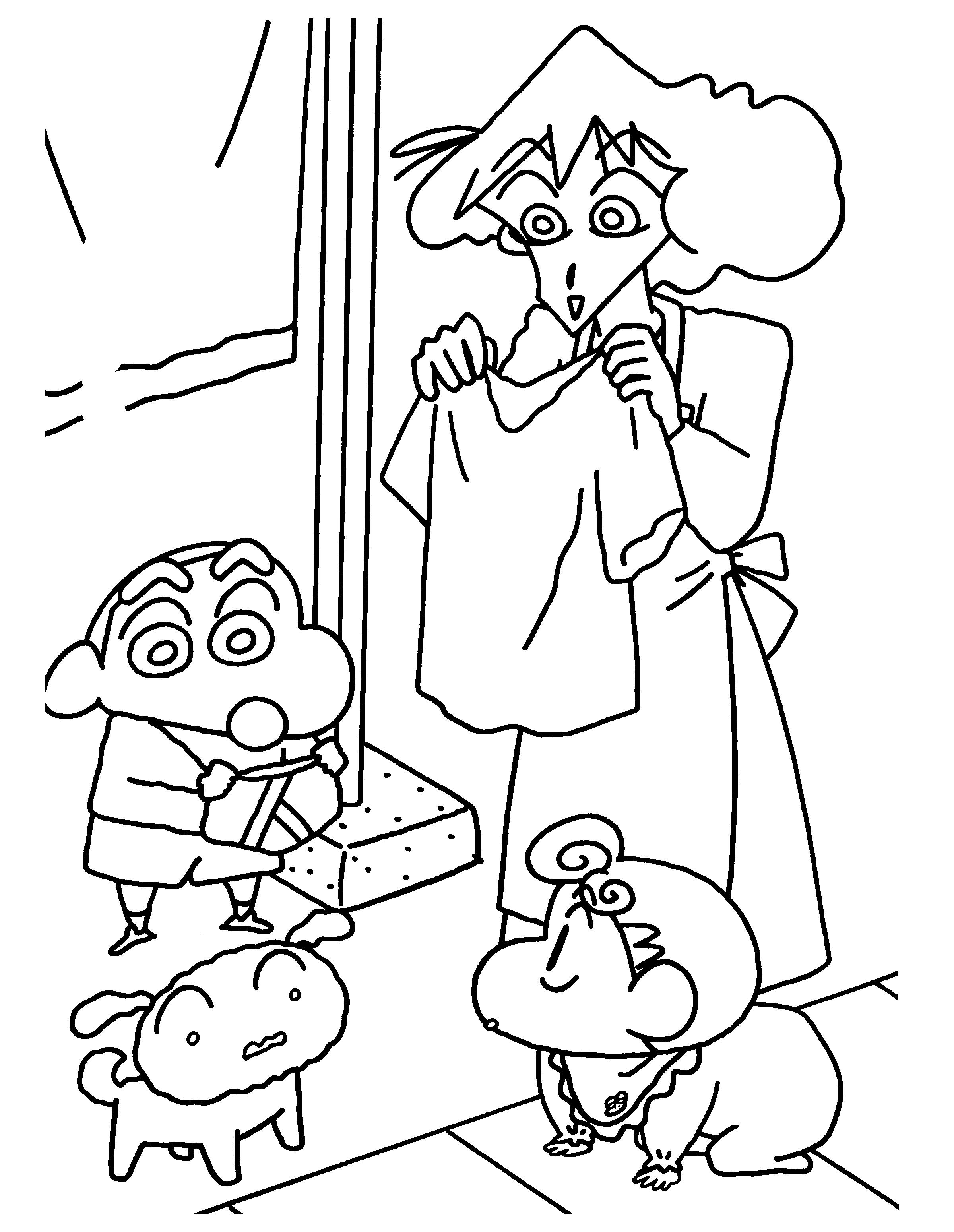 Tranh tô màu Shin cậu bé bút chì và mẹ đang thử đồ