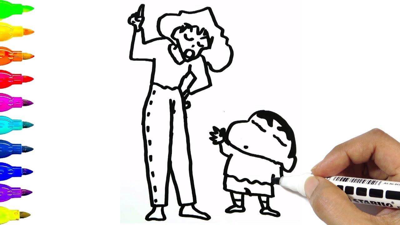 Tranh tô màu Shin cậu bé bút chì và mẹ
