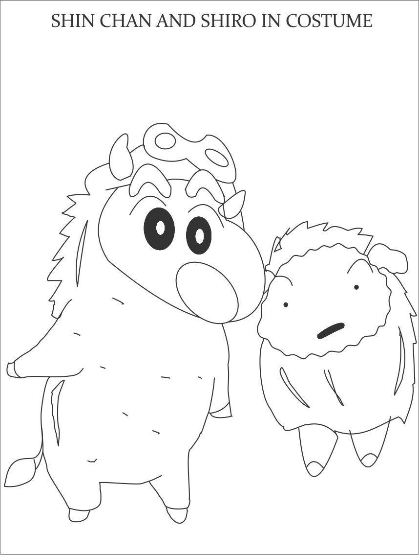 Tranh tô màu Shin cậu bé bút chì và Shiro đang cosplay