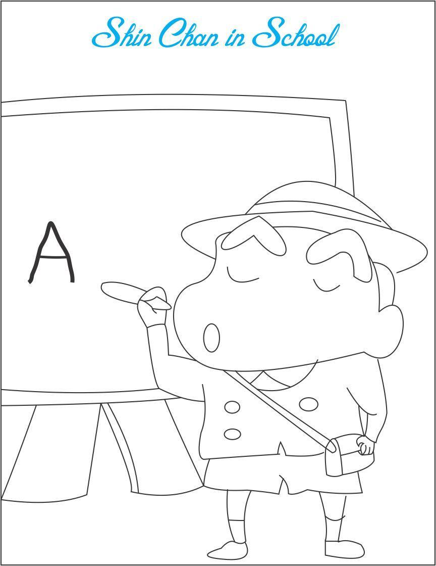 Tranh tô màu Shin cậu bé bút chì viết chữ lên bảng phấn