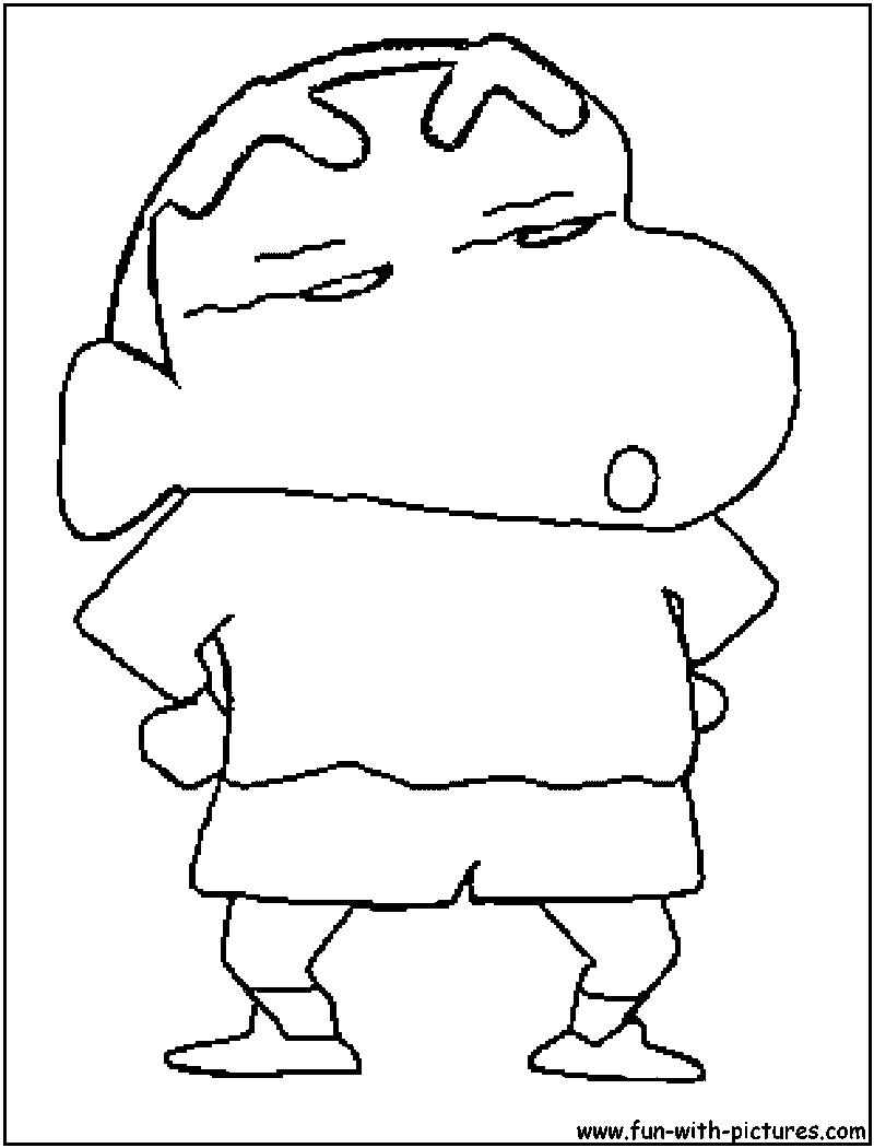 Tranh tô màu Shin cậu bé bút chì với dáng đứng khệnh khạng