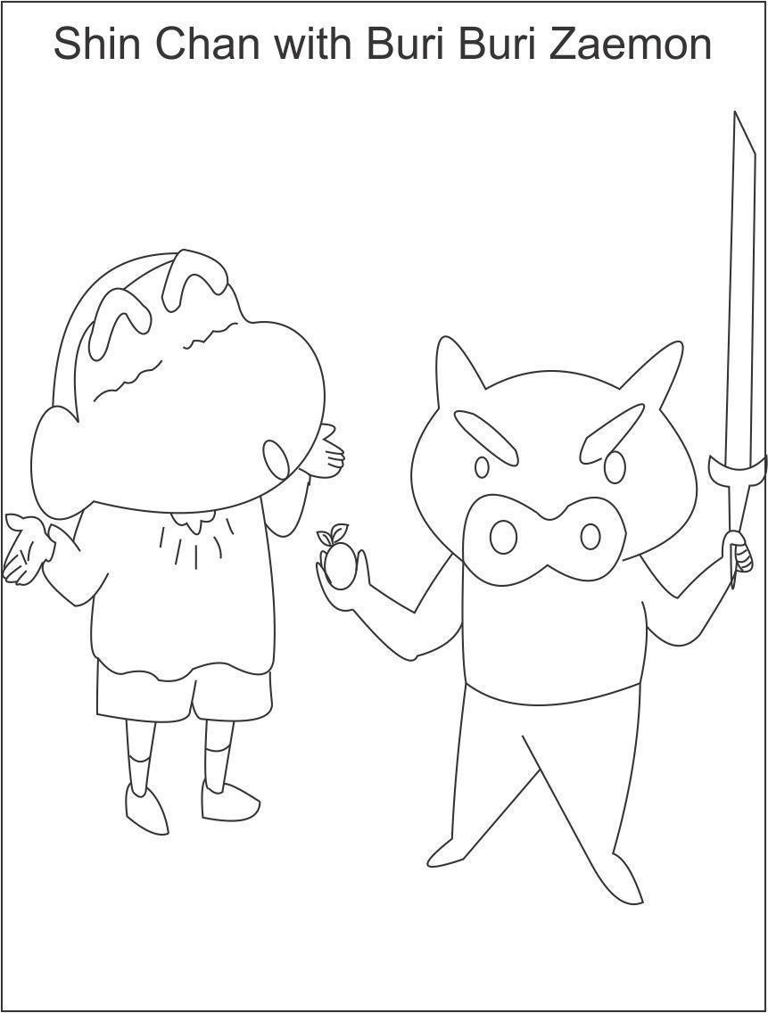 Tranh tô màu Shin chan và Buri Buri Zaemon