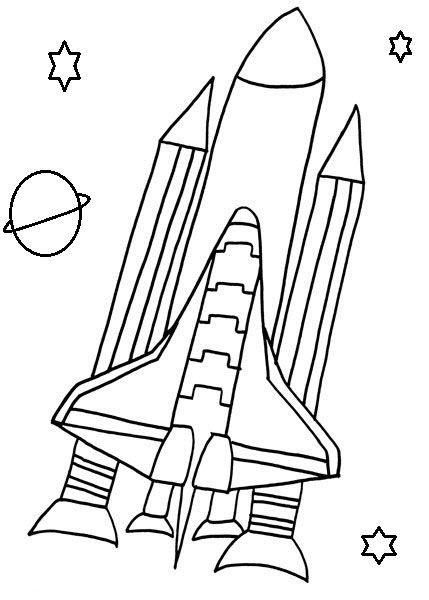 Tranh tô màu tàu con thoi bay vào không gian