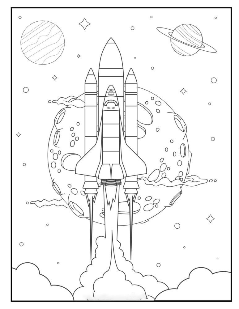 Tranh tô màu tàu con thoi khám phá mặt trăng