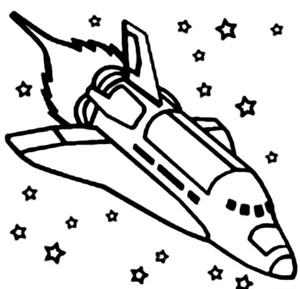 Tranh tô màu tàu con thoi trên vũ trụ