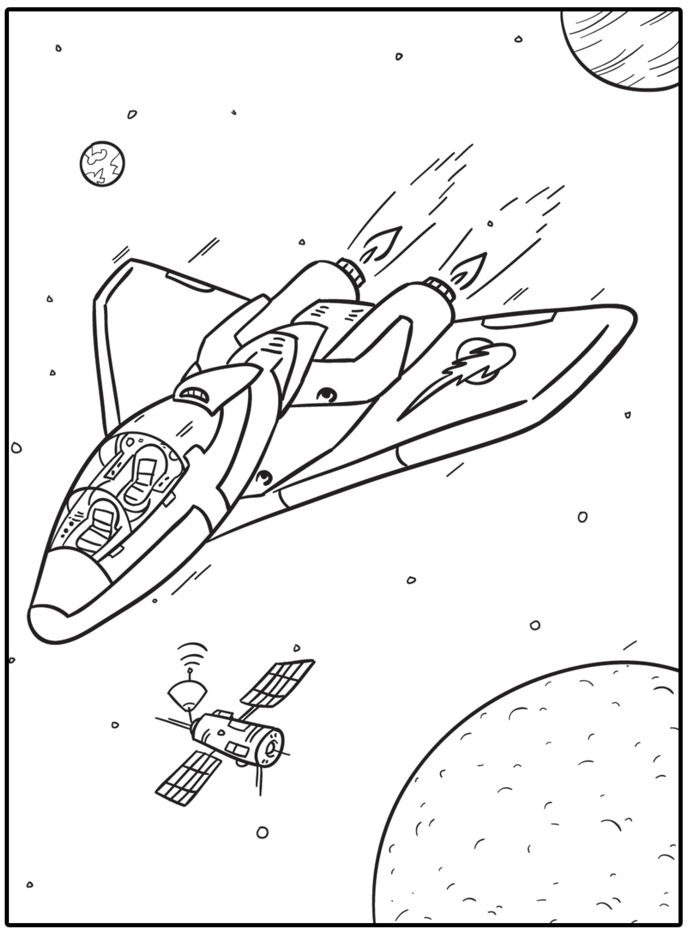 Tranh tô màu tàu con thoi và vệ tinh