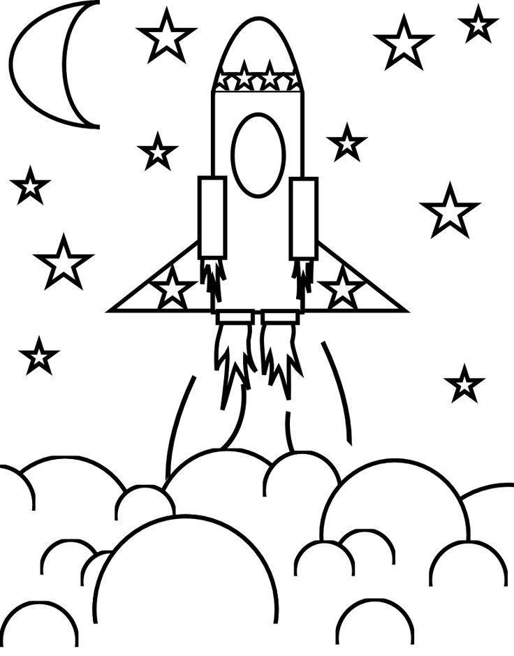 Tranh tô màu tàu con thoi với trăng và sao