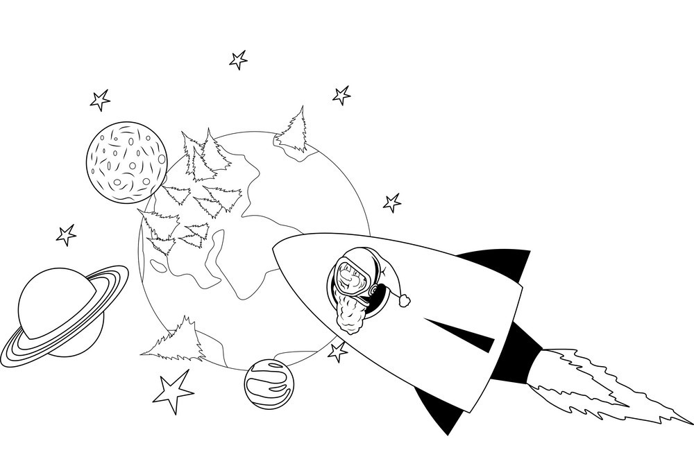 Tranh tô màu tên lửa bay vào không gian