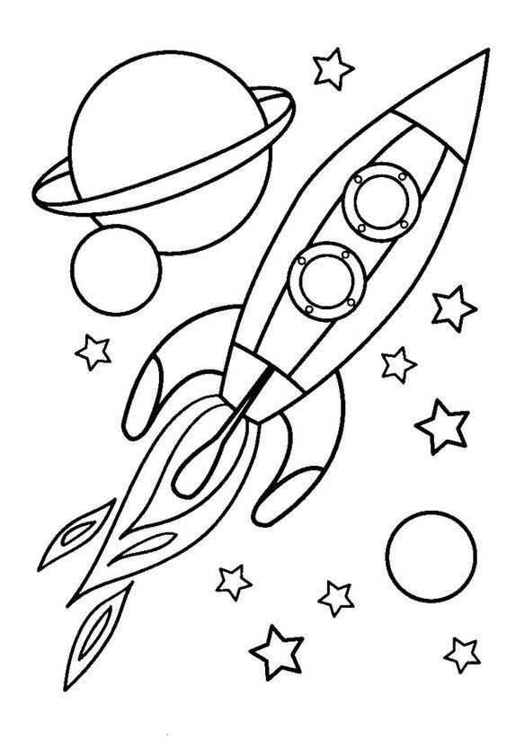 Tranh tô màu tên lửa khám phá không gian
