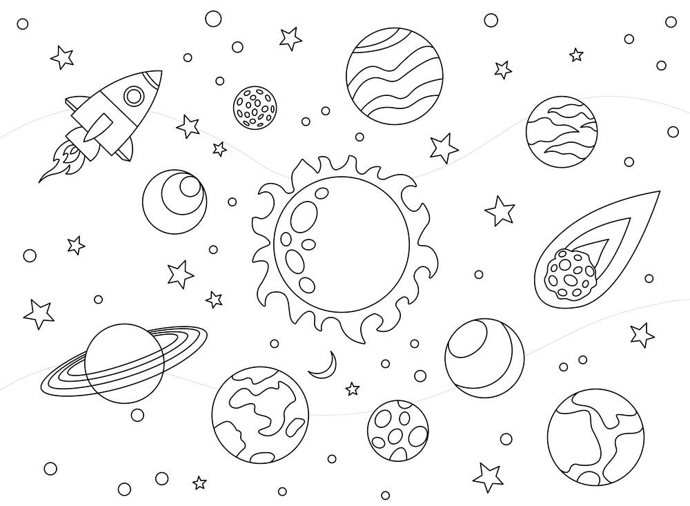 Tranh tô màu tên lửa và hệ mặt trời