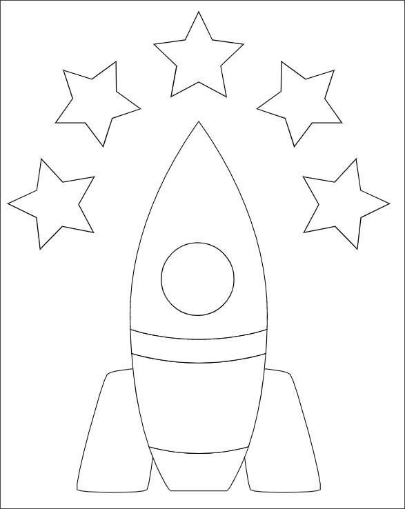 Tranh tô màu tên lửa và ngôi sao