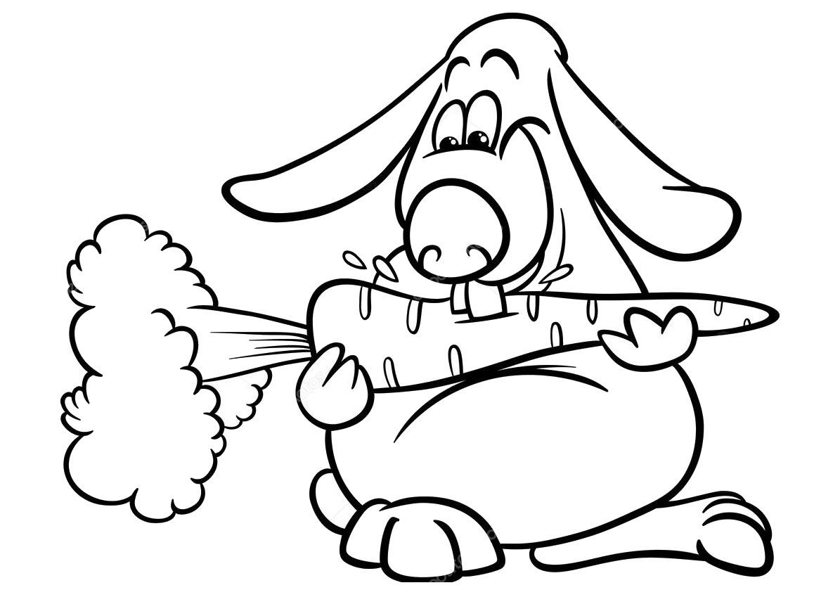 Tranh tô màu thỏ ăn cà rốt