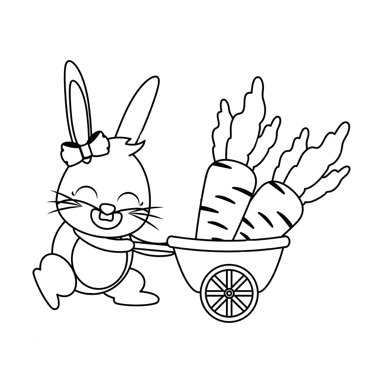 Tranh tô màu thỏ và xe cà rốt