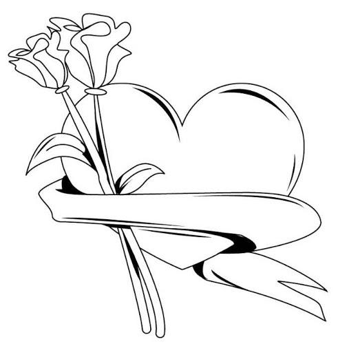 Tranh tô màu trái tim đẹp, đơn giản