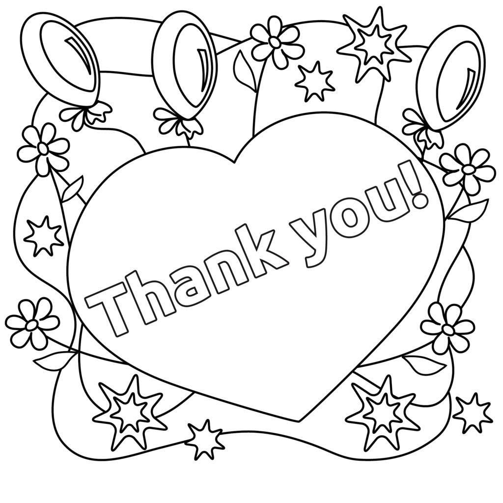 Tranh tô màu trái tim Thank you