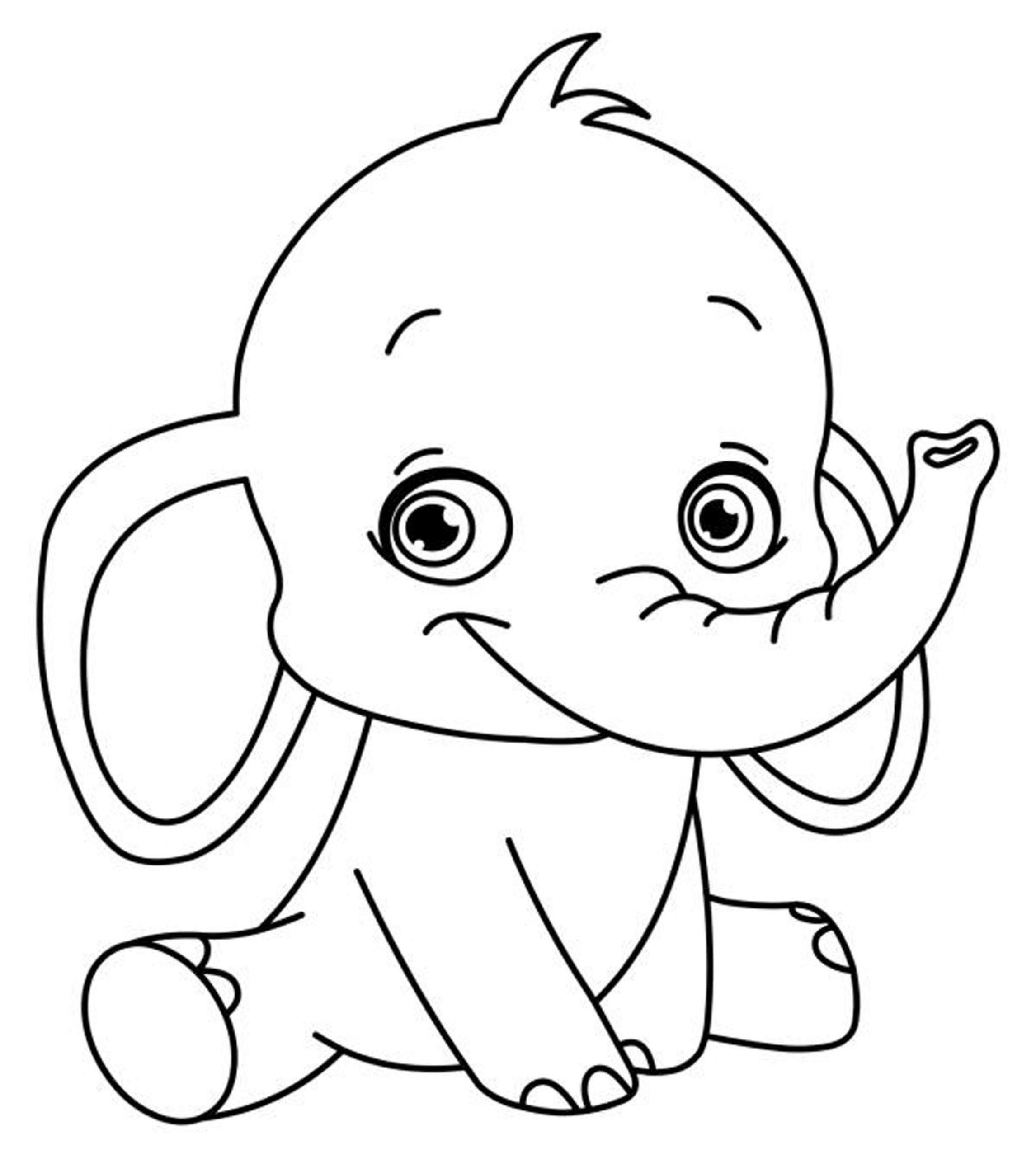 Tranh tô màu voi chibi xinh đẹp