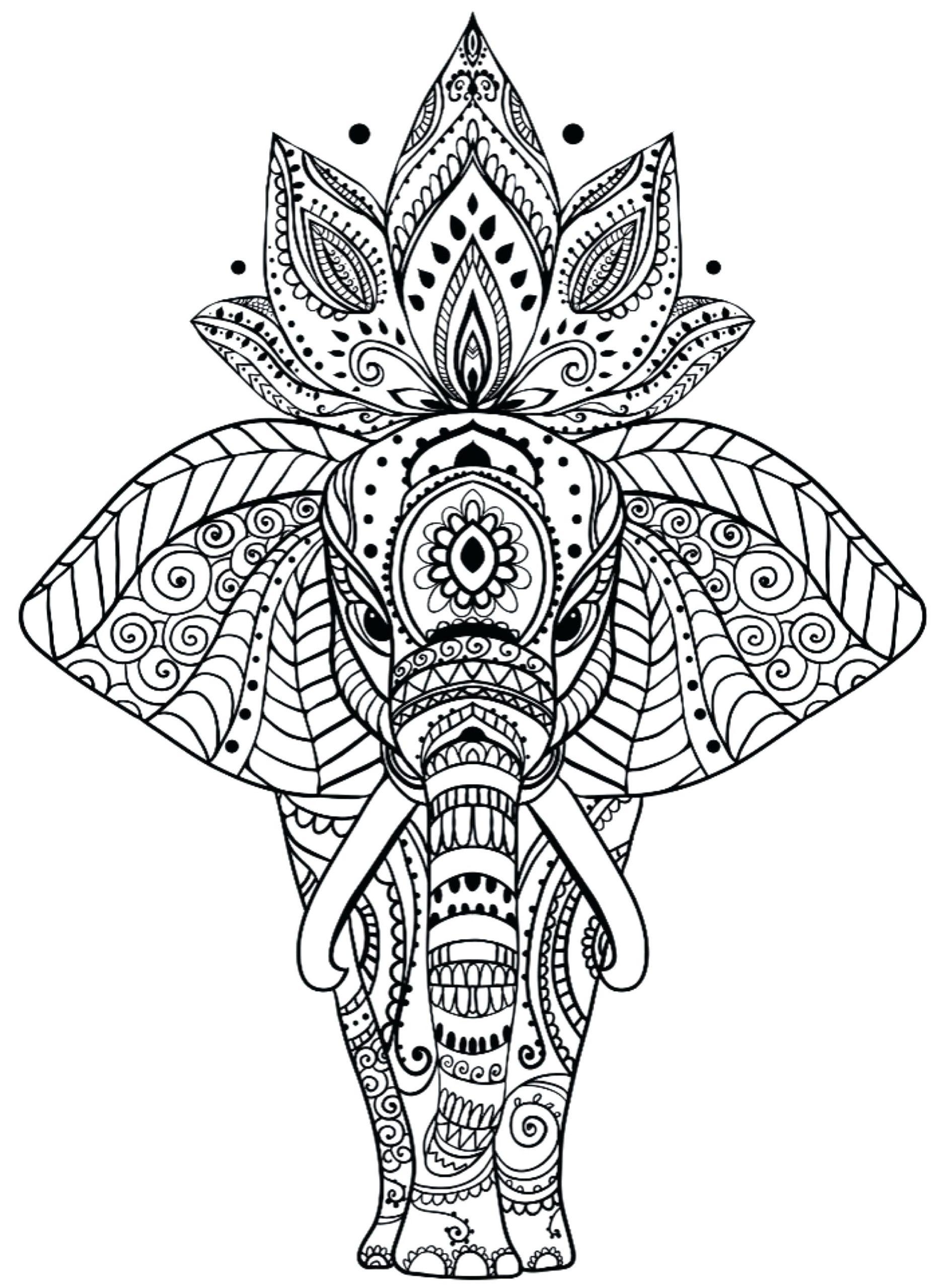 Tranh tô màu voi có nhiều họa tiết và hoa nở trên đầu