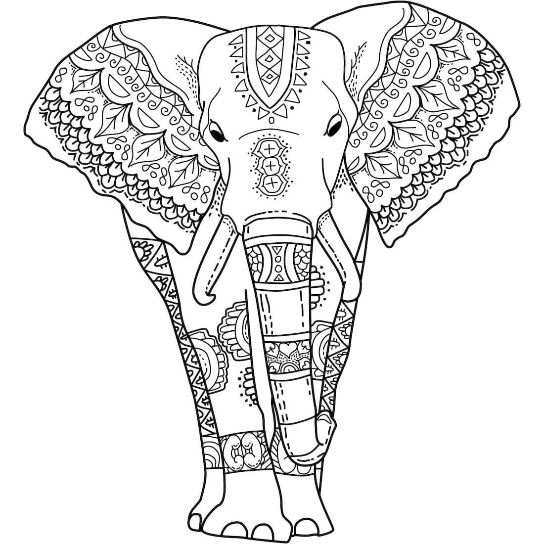 Tranh tô màu voi có những hoa văn rất đẹp