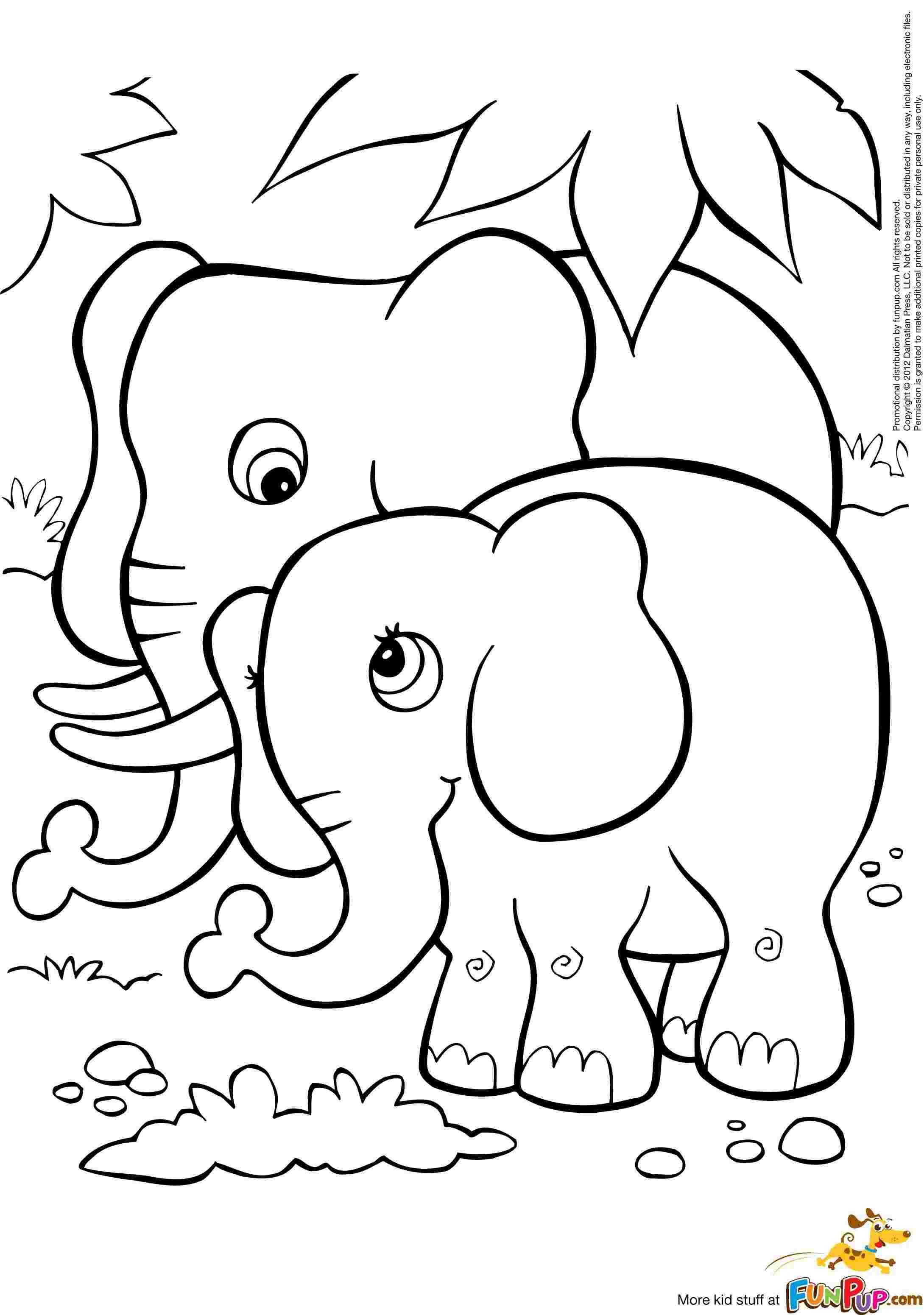Tranh tô màu voi lớn voi bé đứng cạnh nhau
