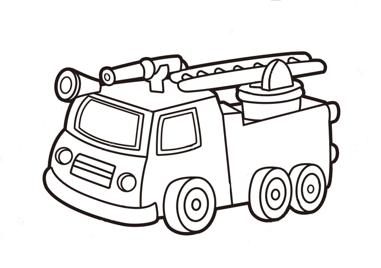 Tranh tô màu xe chữa cháy cartoon