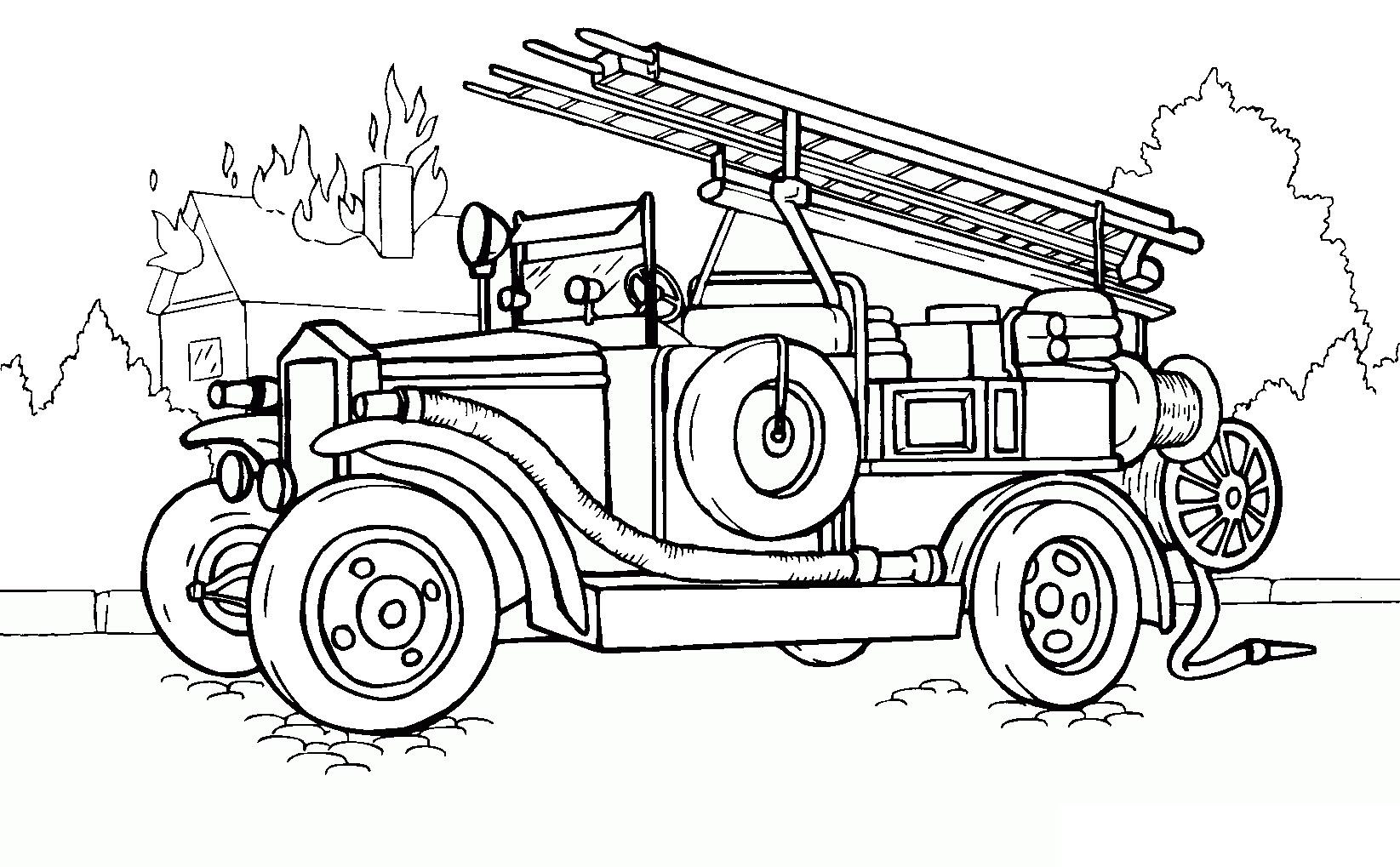 Tranh tô màu xe chữa cháy