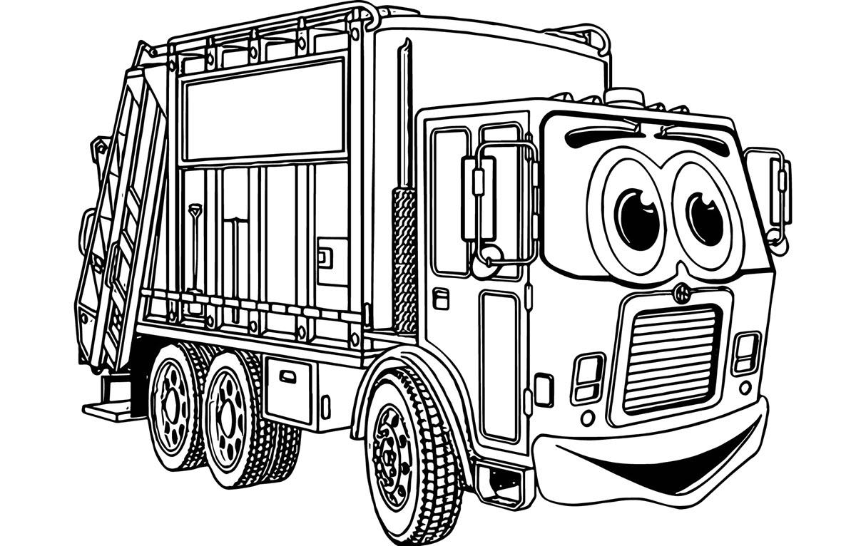 Tranh tô màu xe cứu hỏa cartoon
