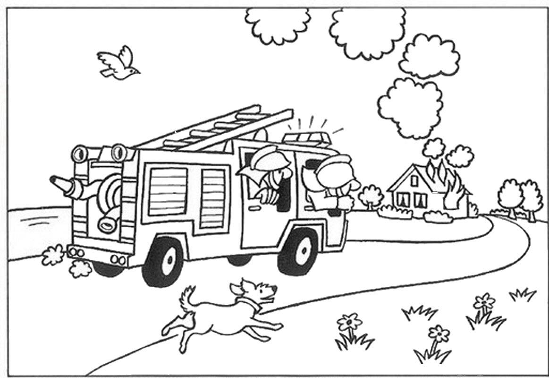 Tranh tô màu xe cứu hỏa cho bé