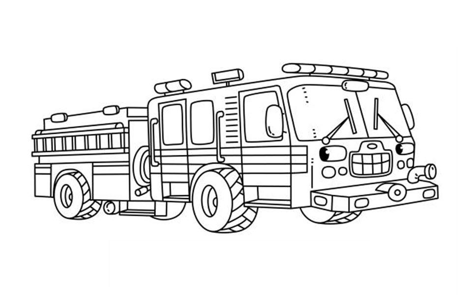 Tranh tô màu xe cứu hỏa dễ thương