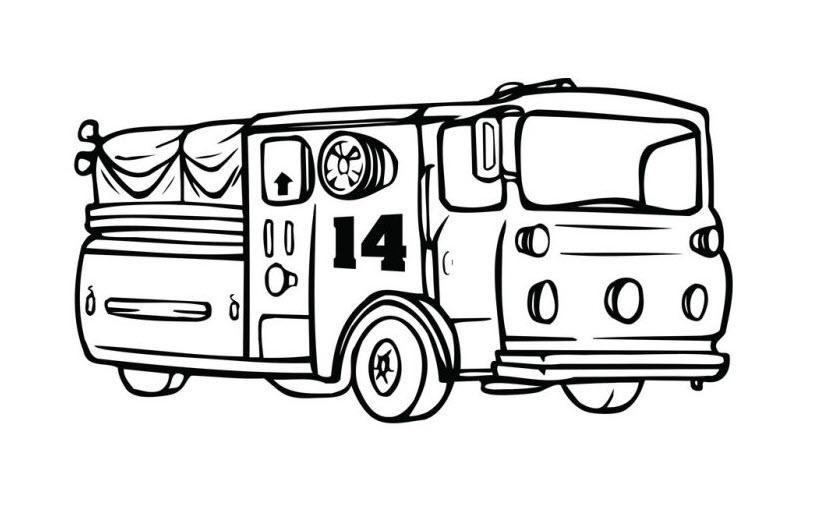 Tranh tô màu xe cứu hỏa đẹp