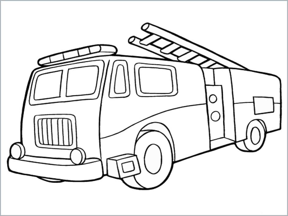 Tranh tô màu xe cứu hỏa đơn giản