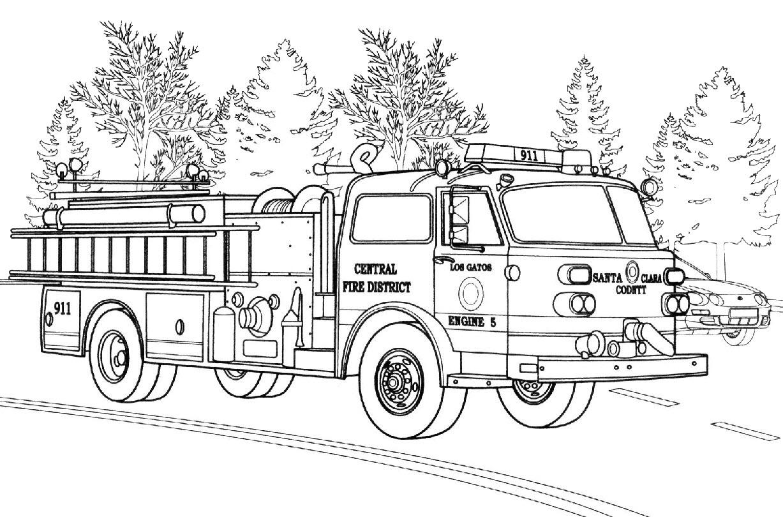 Tranh tô màu xe cứu hỏa nhiều chi tiết khó