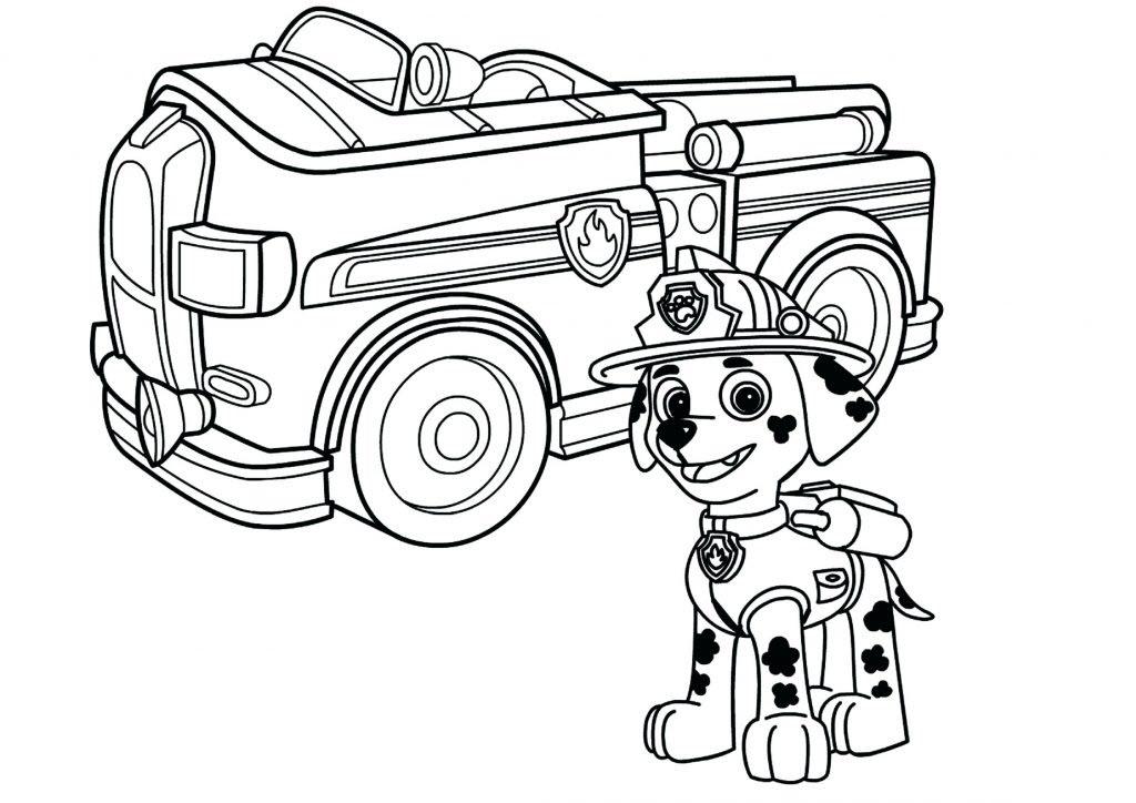 Tranh tô màu xe cứu hỏa và chú chó cứu hộ đẹp