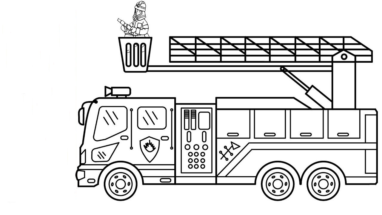 Tranh tô màu xe cứu hỏa