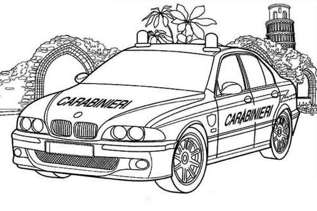 Tranh tô màu xe ô tô cảnh sát cực đẹp