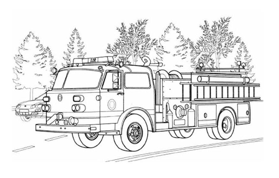 Tranh tô màu xe phòng cháy chữa cháy đẹp