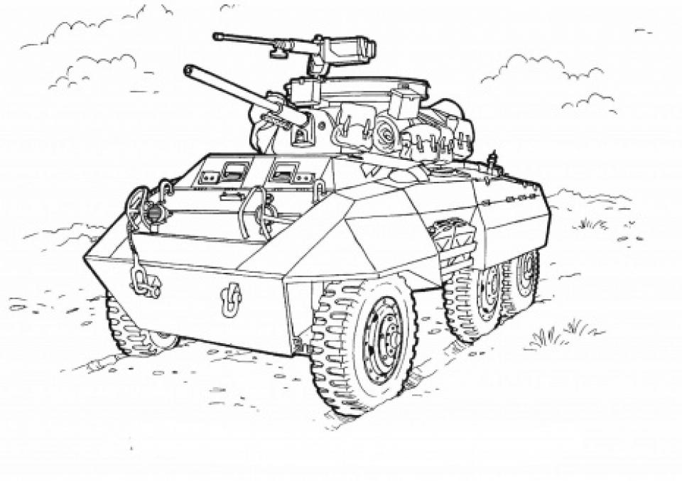 Tranh tô màu xe tăng chiến đấu