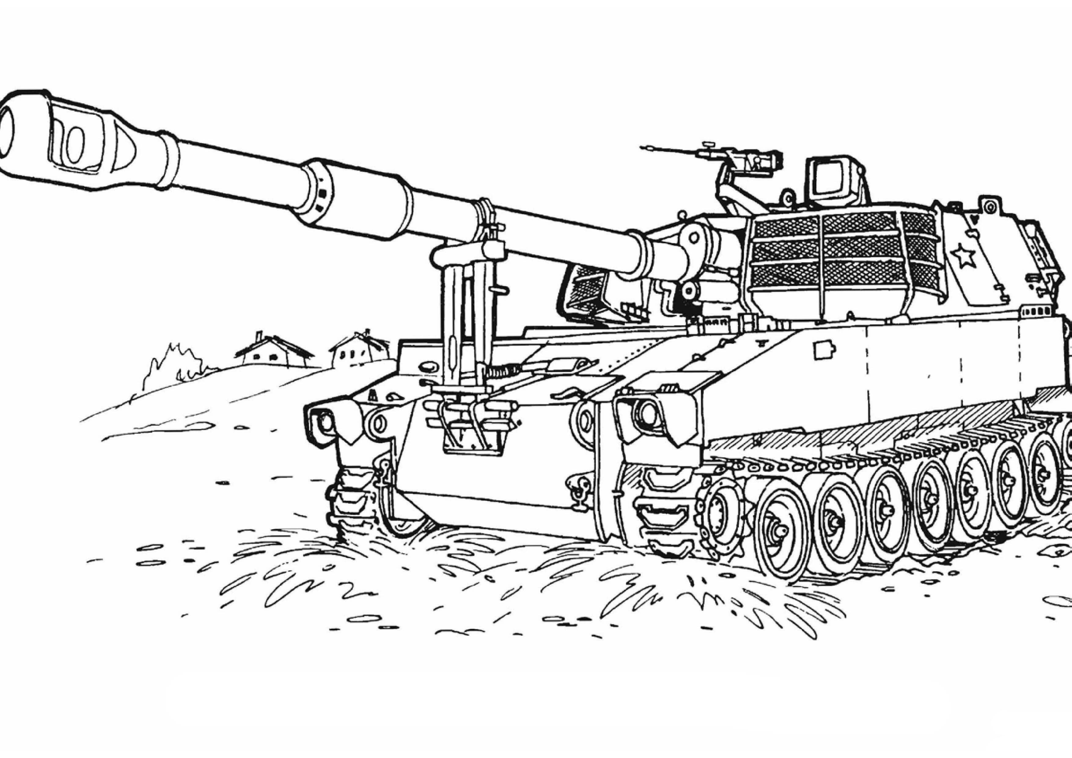Tranh tô màu xe tăng ngoài chiến trường