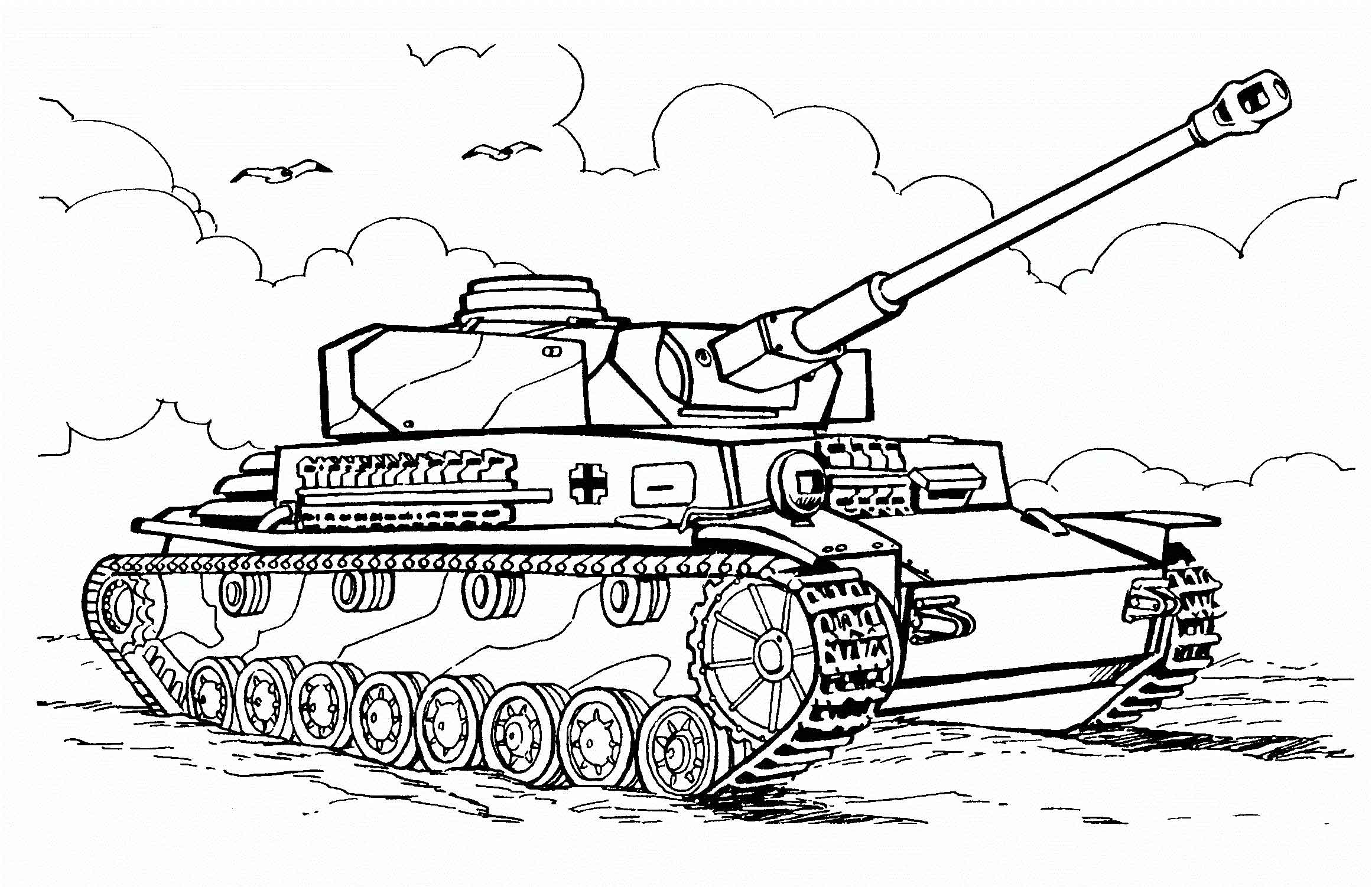 Tranh tô màu xe tăng quân đội