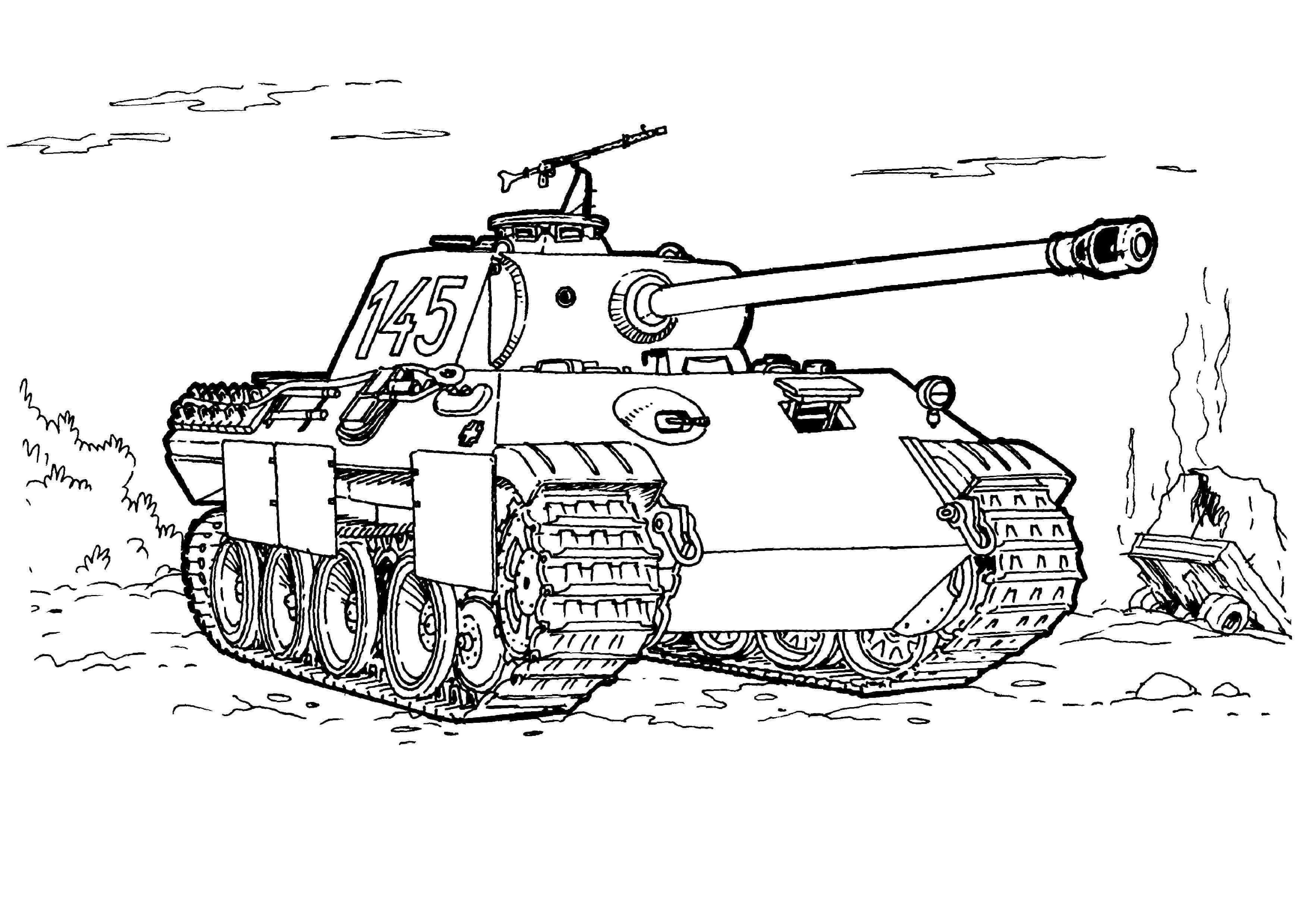 Tranh tô màu xe tăng T145