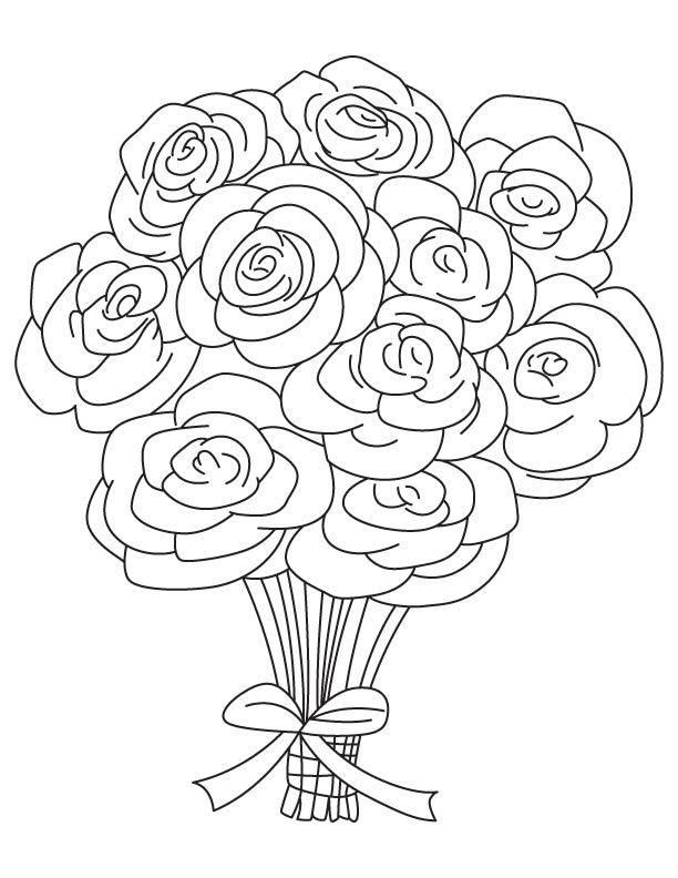 Tranh vẽ tô màu hoa hồng đơn giản đẹp nhất