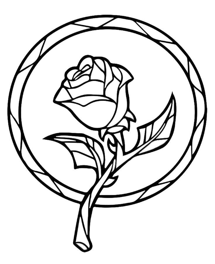 Tranh vẽ tô màu hoa hồng đơn giản